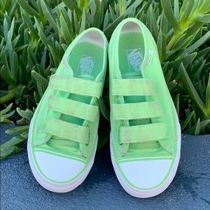 Vans green gently used Velcro sneakers